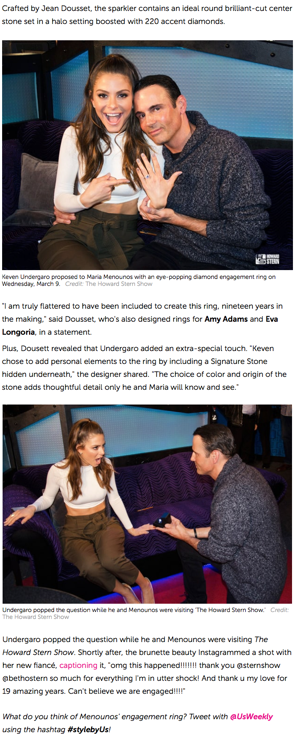 """See Maria Menounos' Engagement Ring Up Close, Plus All the Details"", US Weekly"