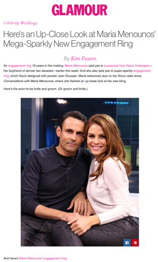 """'Here's an Up-Close Look at Maria Menounos' Mega-Sparkly New Engagement Ring"""", Glamour"""