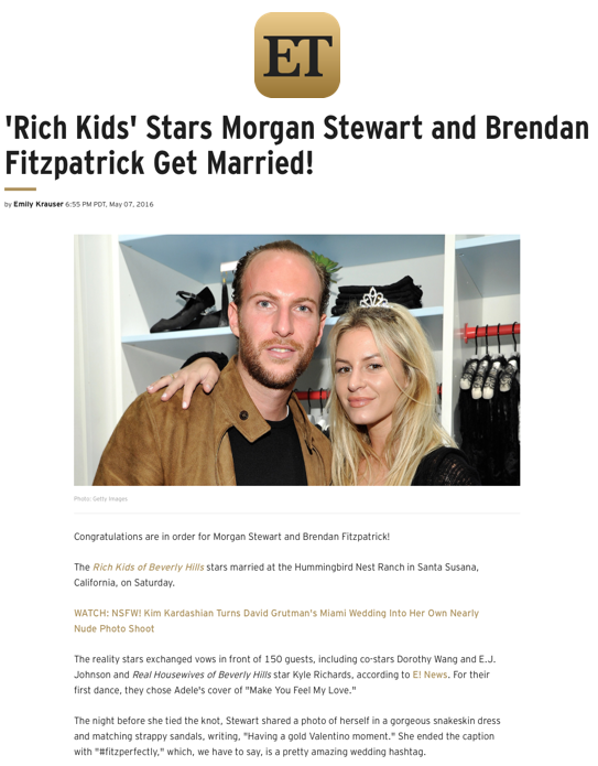 'Rich Kids' Stars Morgan Stewart and Brendan Fitzpatrick Get Married!, ET